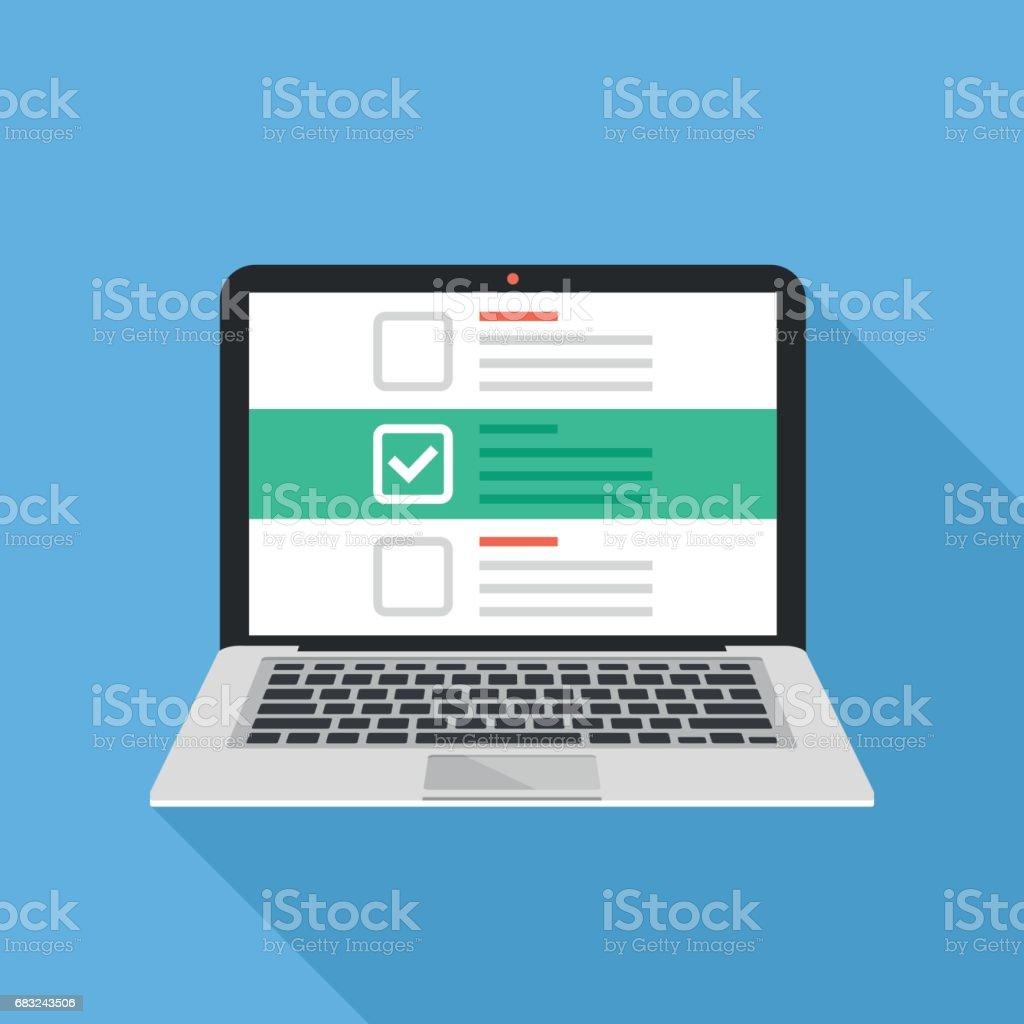 筆記本電腦和帶有核取記號的核取方塊。清單,白色刻度線在筆記本電腦的螢幕上。選擇調查的概念。現代平面設計向量圖 - 免版稅互聯網圖庫向量圖形