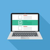 istock Laptop and checkboxes with check mark. Checklist, white tick on laptop screen. Choice, survey concepts. Modern flat design vector illustration 683243506