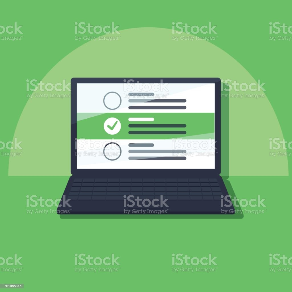 Laptop and checkboxes with check mark. Checklist, white tick on laptop screen. Choice, survey concepts. - arte vettoriale royalty-free di Accuratezza