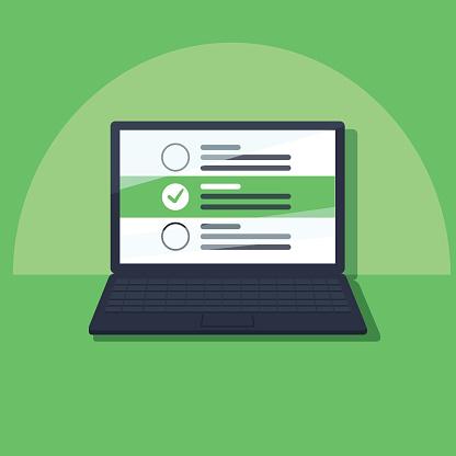 Laptop And Checkboxes With Check Mark Checklist White Tick On Laptop Screen Choice Survey Concepts - Immagini vettoriali stock e altre immagini di Accuratezza