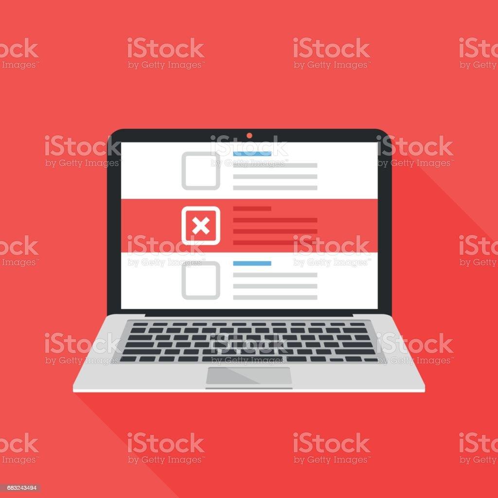 Laptop und Checkboxen mit Kreuz Mark. Checkliste mit x-Zeichen auf dem Laptopbildschirm. Wahl, Umfrage Konzepte. Moderne Wohnung Design-Vektor-illustration – Vektorgrafik