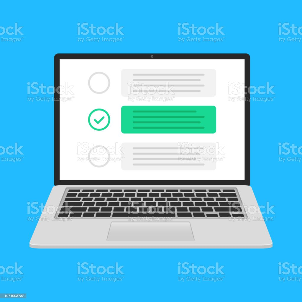 Laptop And Checklist Notebook With Checkboxes And Green