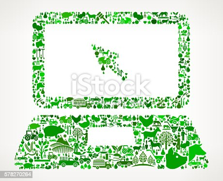 istock Laptop and Cursor Farming and Agriculture Green Icon Pattern 578270264