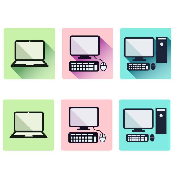 Laptop and desktop PC icons vector art illustration