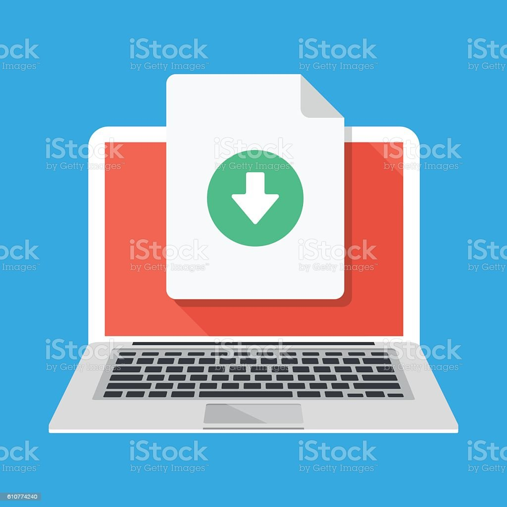 Laptop and download file icon. Document downloading. Flat vector illustration