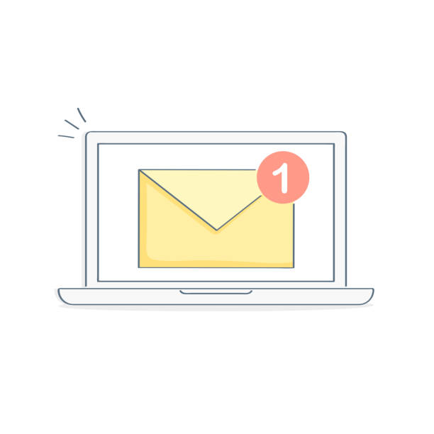 stockillustraties, clipart, cartoons en iconen met laptop en e-mail notificatie - breedbeeldformaat