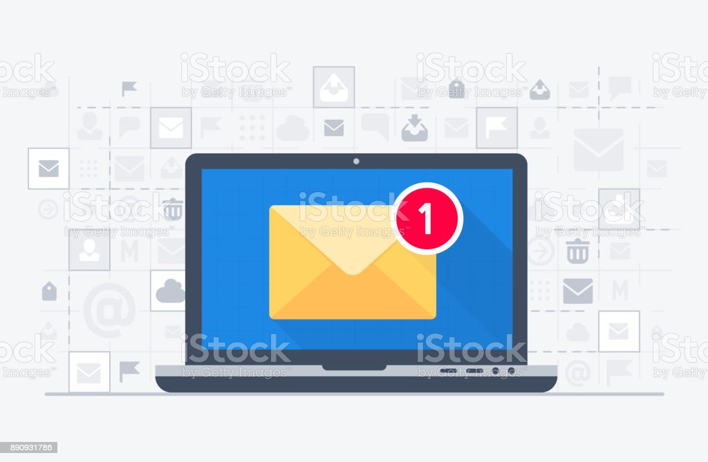 Laptop and email notification vector art illustration