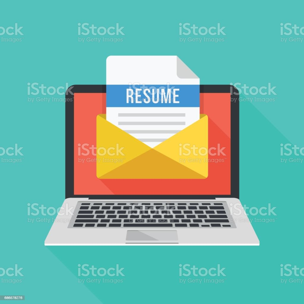 Laptop And Envelope With Resume Letter Email With Cv Job Application