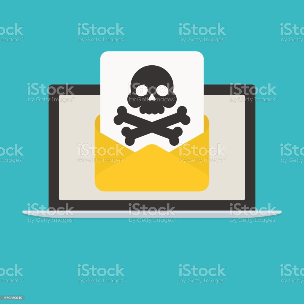 Laptop and envelope with skull and crossbones. E-mail with spam or internet virus vector art illustration