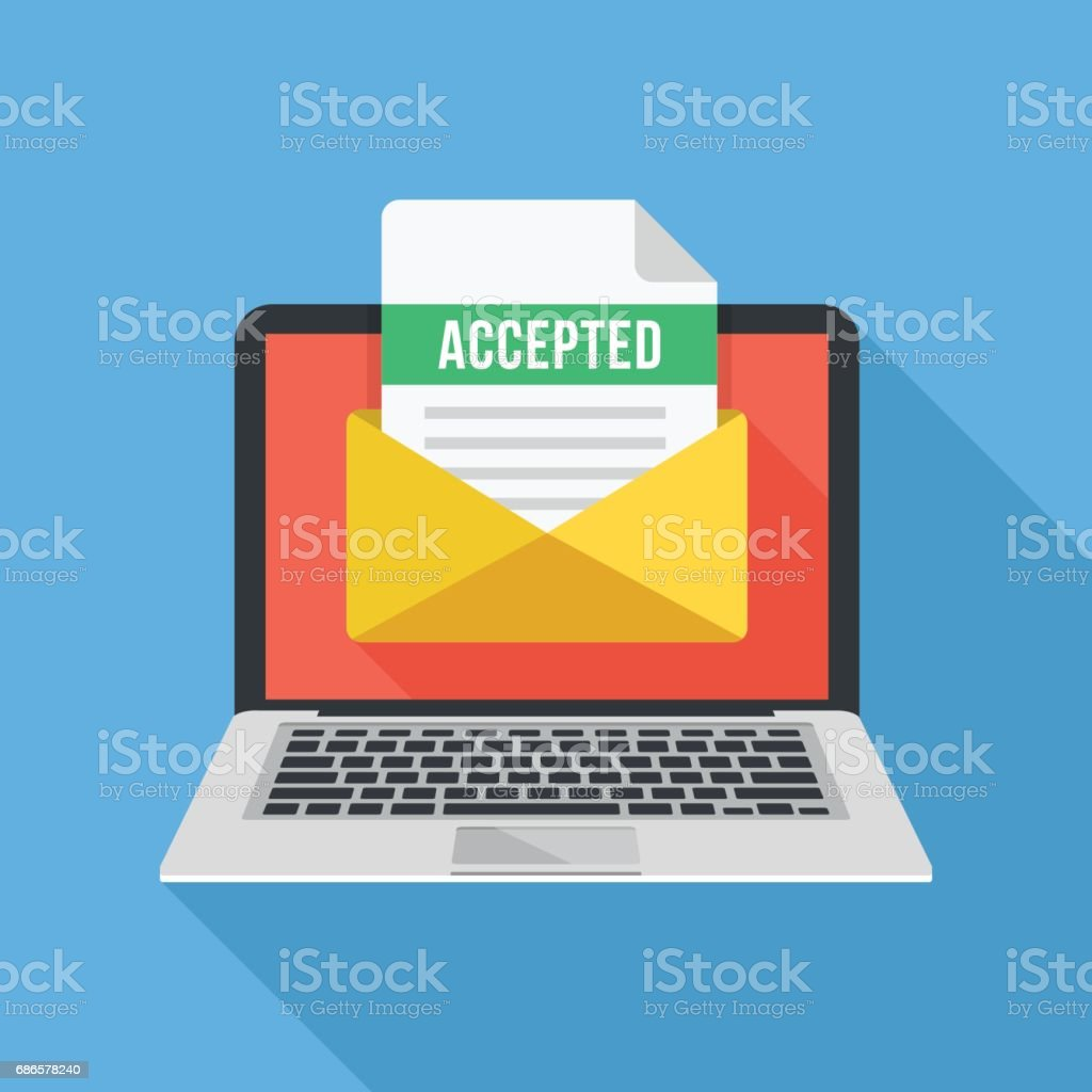 Laptop and envelope with university acceptance letter. Email with accepted header, subject line. College acceptance, admission, employment, recruitment concepts. Modern flat design vector illustration - illustrazione arte vettoriale