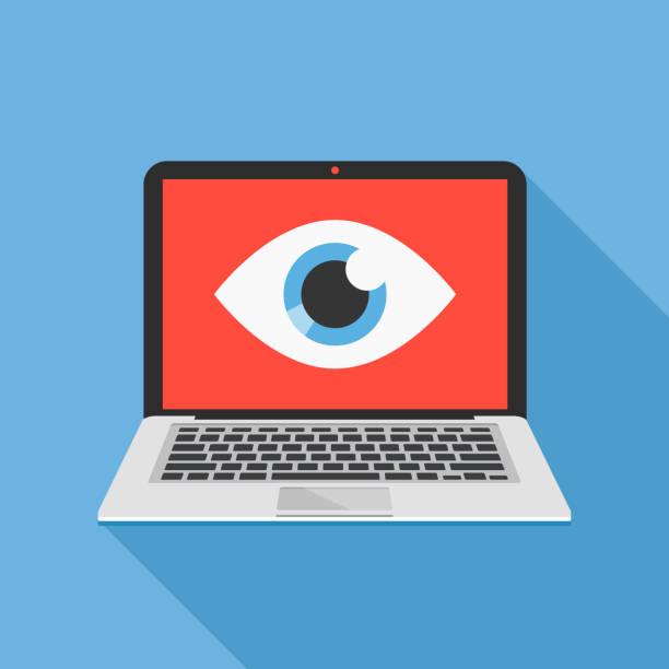 laptop und auge-ikone. internet-überwachung, spyware, computer beobachtet sie konzepte. flaches design. vektorabbildung - spionage und aufklärung stock-grafiken, -clipart, -cartoons und -symbole
