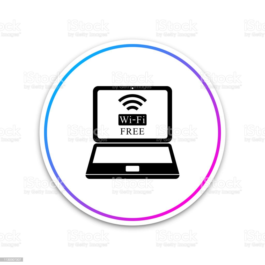Laptop And Free Wifi Wireless Connection Icon Isolated On