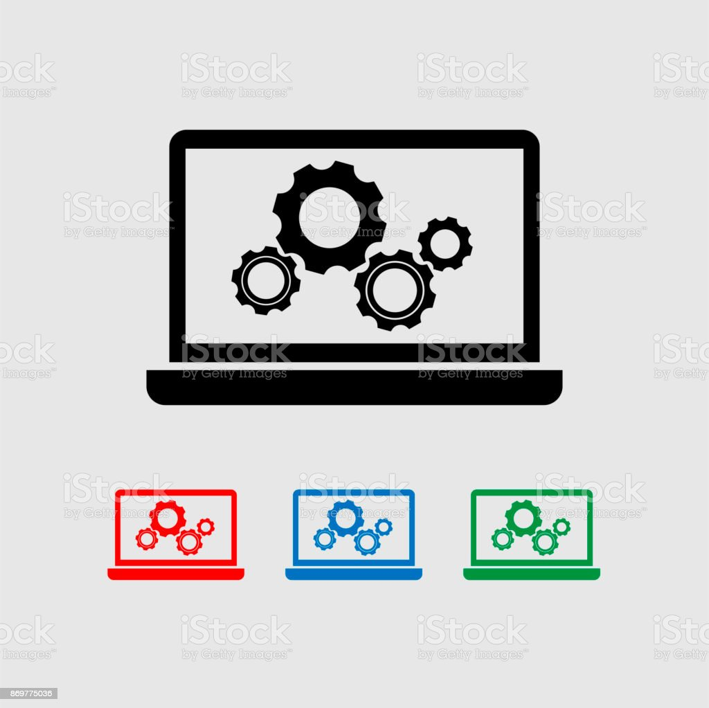 Laptop and gear vector icon. vector art illustration