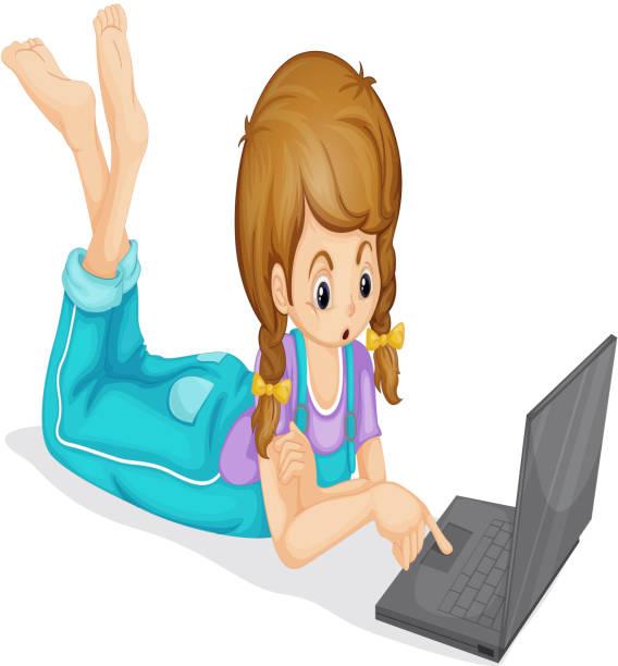 laptop und mädchen - mauspad stock-grafiken, -clipart, -cartoons und -symbole