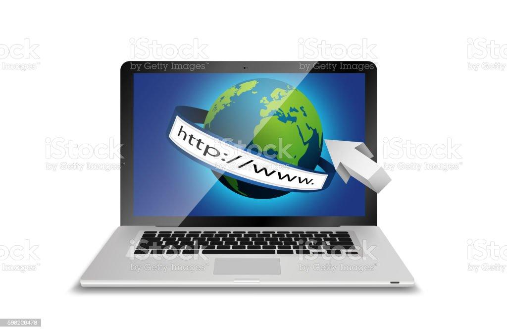 Laptop and globe concept with address bar isolated white background ilustração de laptop and globe concept with address bar isolated white background e mais banco de imagens de computador royalty-free