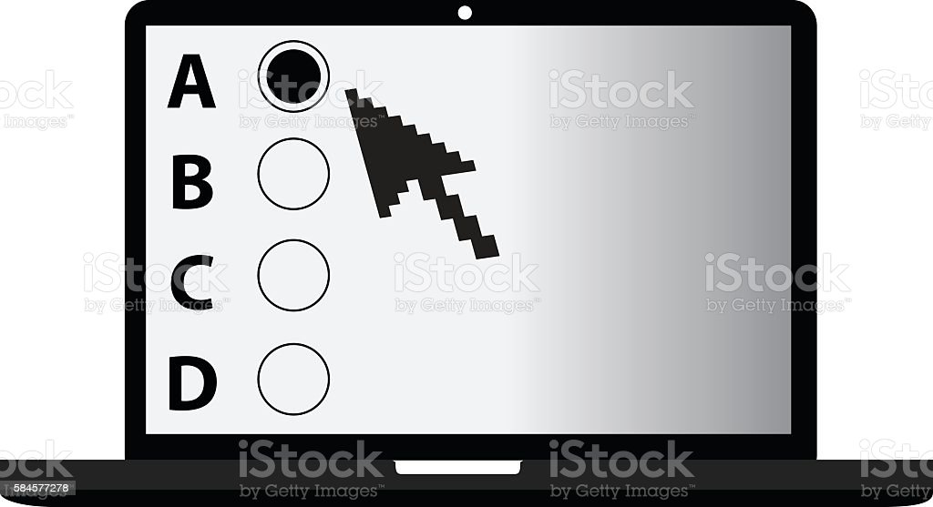 Laptop and Online Testing vector art illustration