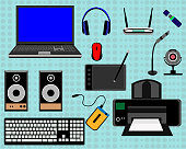 The laptop and all the necessary peripheral equipment