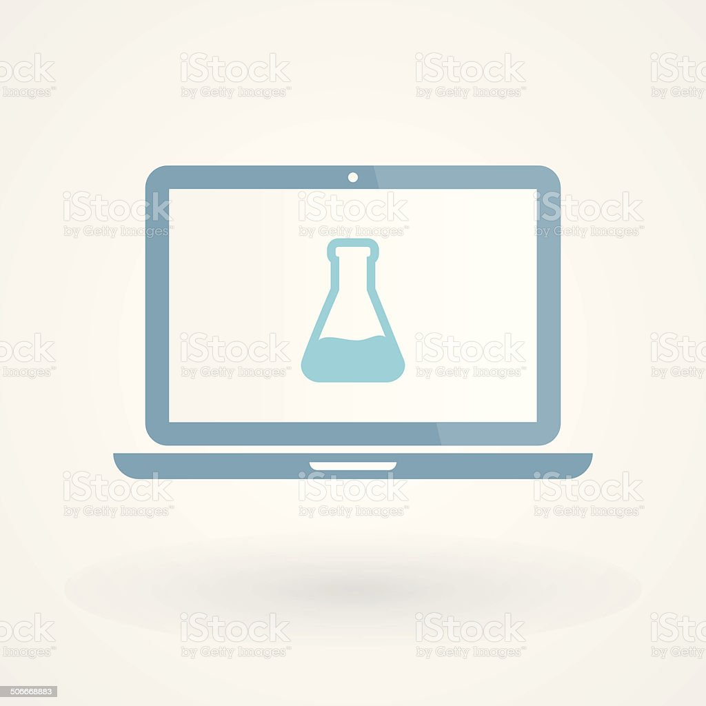 Laptop and tube test royalty-free stock vector art