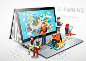 Laptop as a book. The concept of learning. Online education. E-learning. Vector Illustration