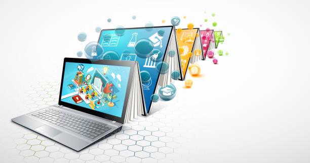 stockillustraties, clipart, cartoons en iconen met laptop als boek. het concept van leren. online onderwijs. vectorillustratie - e learning