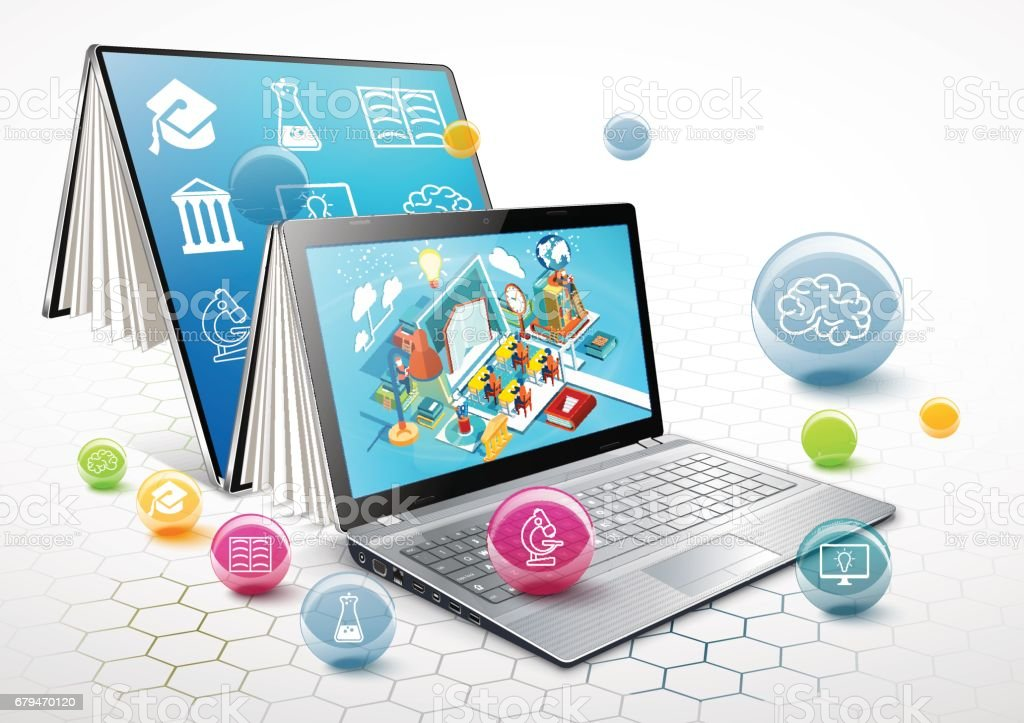 筆記本電腦作為一本書。學習的概念。線上教育。向量圖 免版稅 筆記本電腦作為一本書學習的概念線上教育向量圖 向量插圖及更多 互聯網 圖片