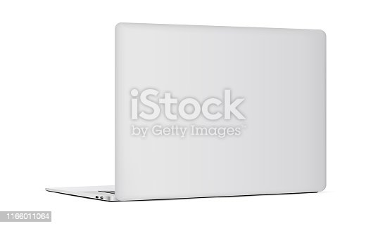 Laptop backside isolated on white background. Vector illustration