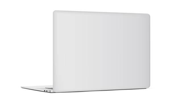 laptop z tyłu izolowany na białym tle - plecy stock illustrations
