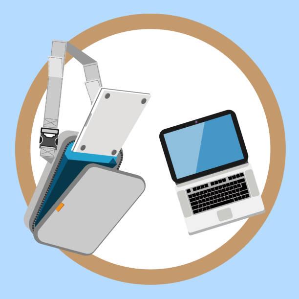 laptop tasche - laptoptaschen stock-grafiken, -clipart, -cartoons und -symbole