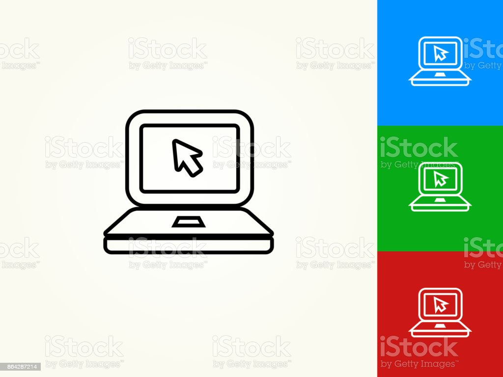 Laptop Black Stroke Linear Icon royalty-free laptop black stroke linear icon stock vector art & more images of arrow symbol