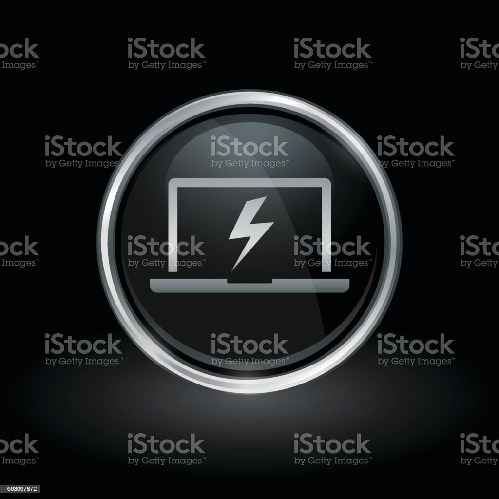 Laptop Bolt Flash Icon Inside Round Silver And Black Emblem Stock Illustration Download Image Now Istock