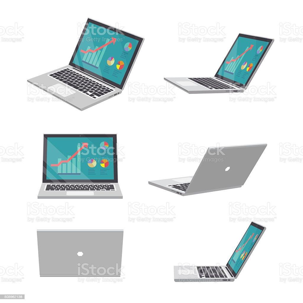 ノートパソコンの 3 D ビジネス ベクターアートイラスト