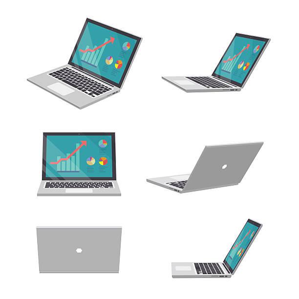 3D Laptop business vector art illustration