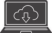 Laptop cloud computing glyph icon