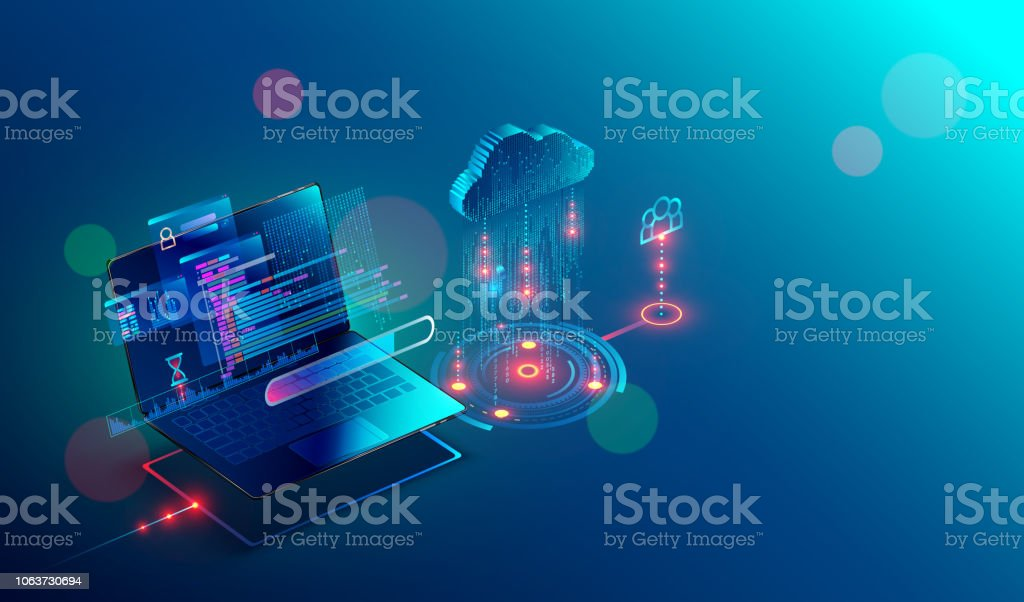 laptop. cloud storage. shared access. Isometric. vector art illustration