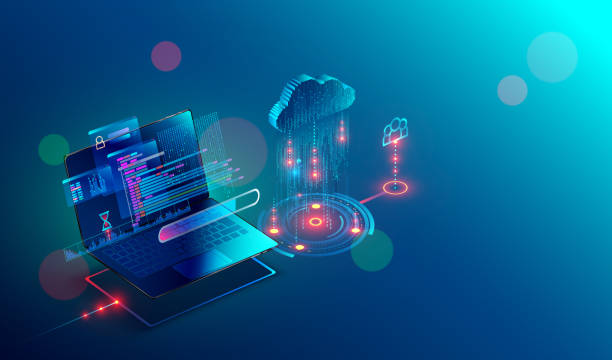 laptop. cloud storage. shared access. Isometric. laptop connection on cloud storage for collaboration work with remote team. Cooperation work via internet and work with project in shared access. Isometric infographic concept. cloud computing stock illustrations