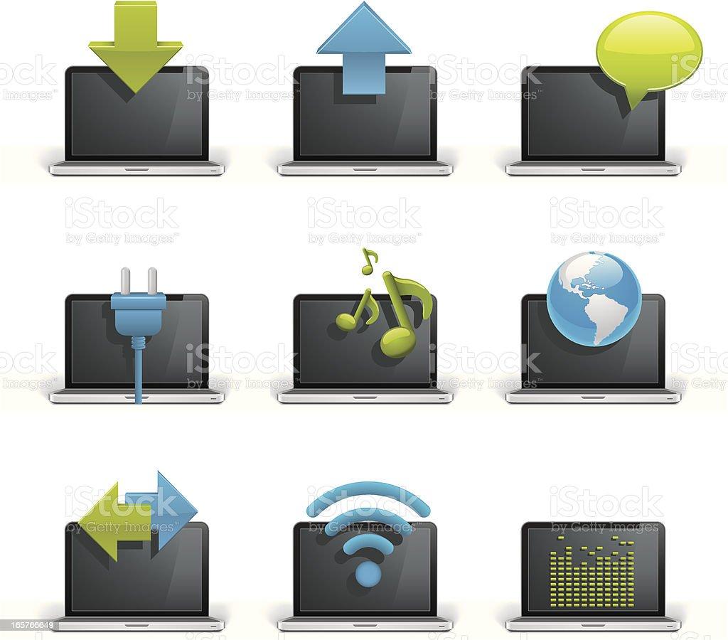 Laptop Communcations - Icon Set royalty-free laptop communcations icon set stock vector art & more images of arrow symbol