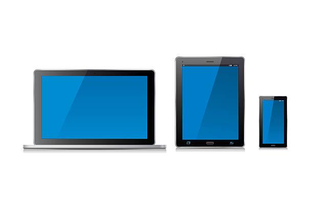 stockillustraties, clipart, cartoons en iconen met laptop computer and blue screen. vector illustration. - green screen