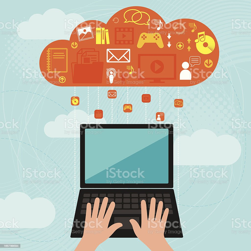 Laptop Computer and Cloud Computing Uploading and downloading data from a cloud to a laptop Arrow Symbol stock vector