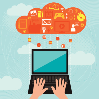 Laptop Computer And Cloud Computing Stock Illustration - Download Image Now