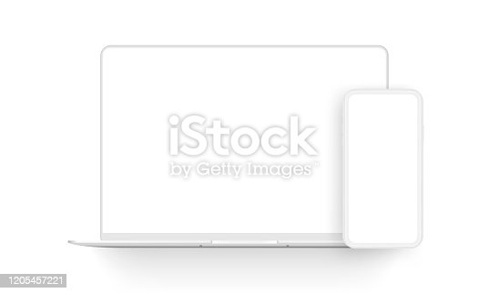 istock Laptop computer and mobile phone clay mockups isolated on white background 1205457221