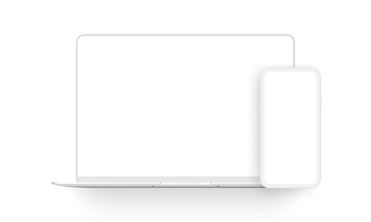 Laptop computer and mobile phone clay mockups isolated on white background