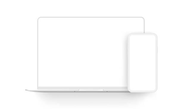 bildbanksillustrationer, clip art samt tecknat material och ikoner med bärbar dator och mobiltelefon lera mockups isolerade på vit bakgrund - laptop