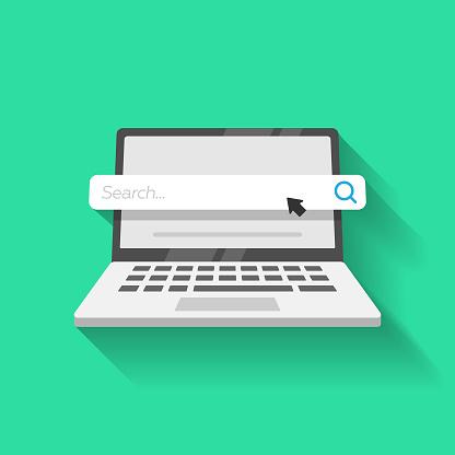 Laptop Computer and Search Bar Icon Vector Design.