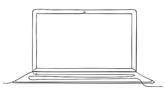 Laptop Computer Continuous Line Art Vector Illustration.