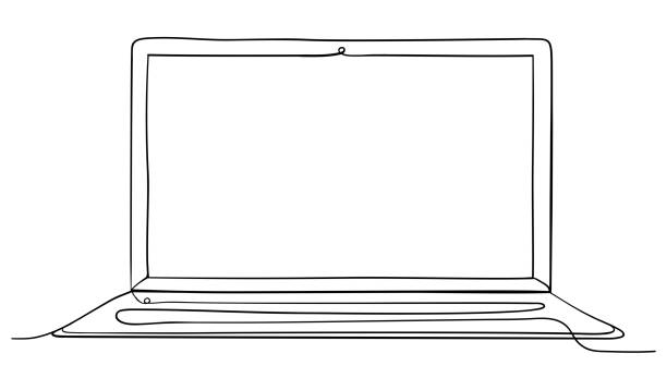 Laptop Computer Continuous Line Art Vector Illustration. Laptop Computer Hand Drawn Continuous Line Art Vector Illustration. Isolated on White Background. continuity stock illustrations