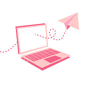 Vector illustration of a laptop computer in a modern and minimalistic style. Paper airplane design going through the computer's screen.