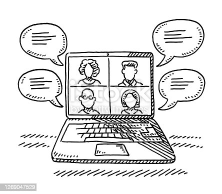 Hand-drawn vector drawing of a Laptop Computer with a Digital Meeting of four persons. Black-and-White sketch on a transparent background (.eps-file). Included files are EPS (v10) and Hi-Res JPG.