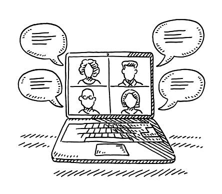 Laptop Computer Digital Meeting Drawing