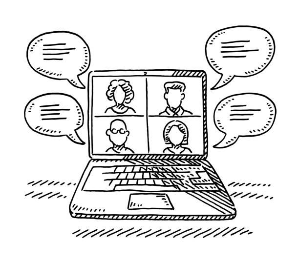Laptop Computer Digital Meeting Drawing vector art illustration