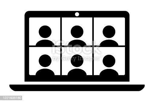 Laptop computer displaying six people icons. Simple black and white illustration. The icons on the screen are separated objects for easy editing.
